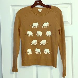 JCREW - Tan and White Elephant Sweater - Small